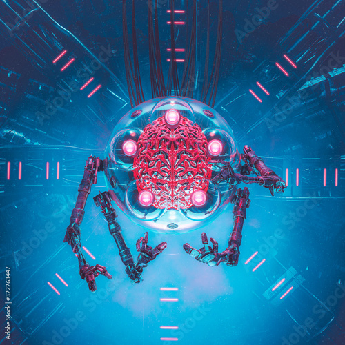 The articulated brain / 3D illustration of science fiction alien artificial inte Wallpaper Mural