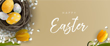 Easter Greeting Banner With Ea...