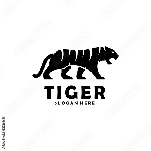 Abstract silhouette tiger walking concept illustration template Fotomurales