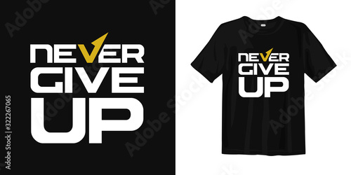 Cuadros en Lienzo Never Give up motivational quotes t shirt design