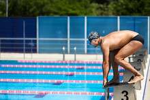 Young Muscular Swimmer In Low ...