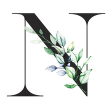 Letter N With Watercolor Leaf....