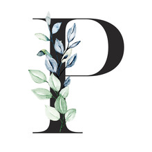 Letter P With Watercolor Leaf....
