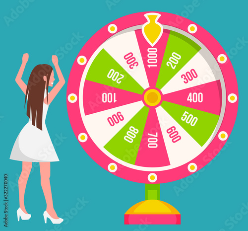 Fotografía Woman, gambler spins large round wheel