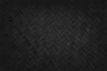 Black Bamboo Weaving Pattern, Old Woven Rattan Mat Texture For Background And Design Art Work.
