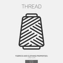 Sewing Thread Spool Line Icon