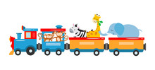 A Kids Train With Animals, Elephant, Giraffe, Zebra, Lions, Panda, Lemur Travel By Train