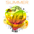 Hello summer poster with hand drawn toucan bird, trendy line art concept in spectrum rainbow color for music party cover, fashion event flyer, t-shirt print. Futuristic vector illustration background