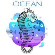 Sea Horse Summer Poster. Ocean...
