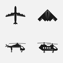 Set Of Military Top View Aircrafts And Side View Cargo Helicopters Black And White Vector Icons.