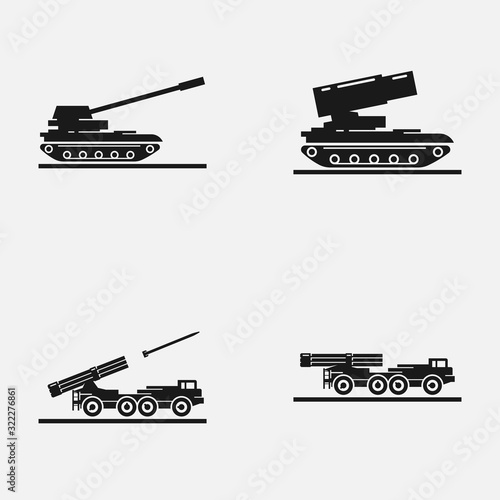 Set of artillery flat vector icons Canvas Print