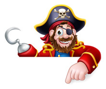 A Pirate Captain Cartoon Character Peeking Over A Sign Background And Pointing At It