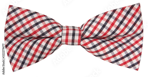 Fotografiet Lovely plaid bow tie isolated on white background
