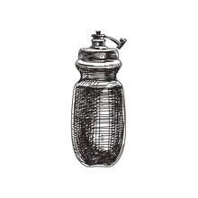 Retro Sport Bottle Hand Drawn ...