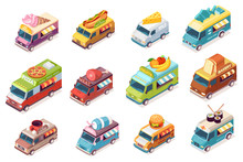 Set Of Isolated Street Food Trucks. Vector Food Van With Fast Food And Drink. Ice-cream And Meat, Hot Do And Milk, Cheese, Fish, Pizza, Fruit, Bakery, Bread, Coffee, Juice, Burger, Sushi. Car Or Auto