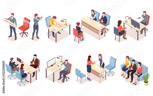 Photo Recruitment agency workers in isometric view