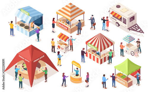 Fototapeta Street or fast, junk food tents. Set of isometric counters and stall, van or wagon, awning and canopy. Coffee, burger, ice-cream, pizza, fruit, hot-dog, sushi, juice, burger. Vector people buying meal obraz