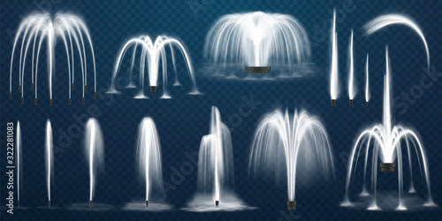 Realistic set of vector fountains Canvas Print