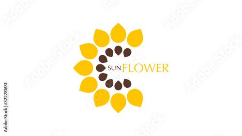 Sunflower logo. Emblem for company. Vector illustration