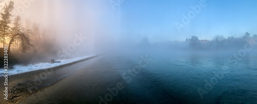 Mist on the river Adda in northern Italy. Canvas Print