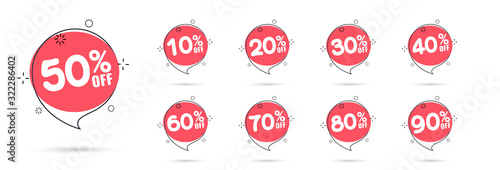 Cuadros en Lienzo Sale tags set vector badges template, 10 off, 20 %, 90, 80, 30, 40, 50, 60, 70 percent sale label symbols, discount promotion flat icon with long shadow