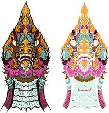 Hand Drawn Thai Dragon Silhoue...