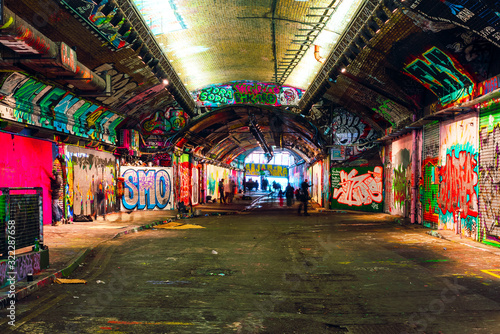 London, UK/Europe; 21/12/2019: Leake Street, underground tunnel with graffiti covered walls in London Canvas Print