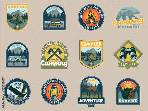Fototapeta Set collection of vintage camping travel  badges obraz