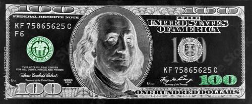 Fototapeta Banknote one hundred US dollars in negative obraz
