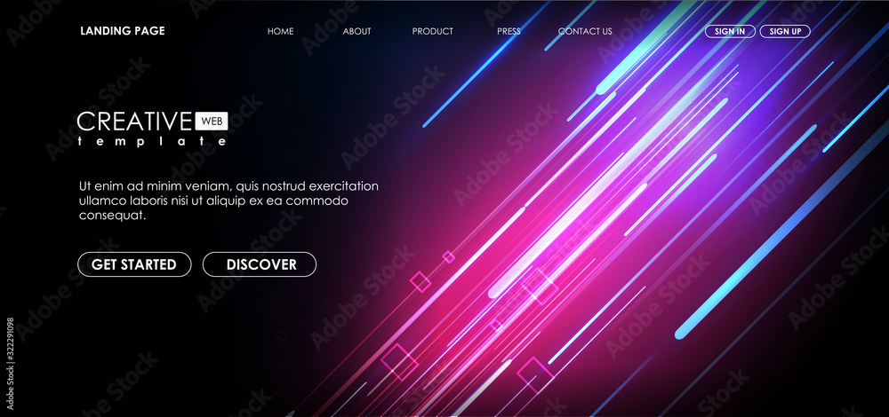 Fototapeta Vector background with shiny strips. Bright neon lines background with 80s style. Tech layout with Neon Rays.