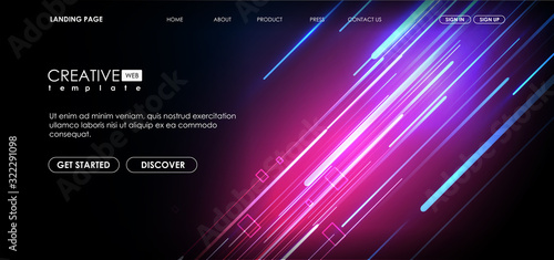 Obraz Vector background with shiny strips. Bright neon lines background with 80s style. Tech layout with Neon Rays. - fototapety do salonu