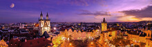 Aerial Panoramic View Of The Old Town Square At Night In Prague, Czech Republic