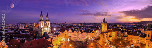 Aerial Panoramic View of The Old Town Square at night in Prague, Czech Republic Canvas