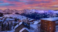 Evening Sunset At Ski Resort Village, Chamonix Mont-Blanc, Amazing Sky
