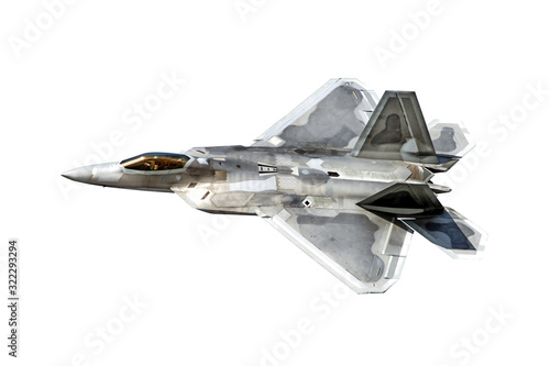 Fotomural modern military fighter jet aircraft isolated on white background