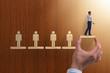 Leinwanddruck Bild Career ladder concept with businessman