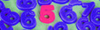 Leinwanddruck Bild - Panoramic shot of pink five number and blue numbers on green surface