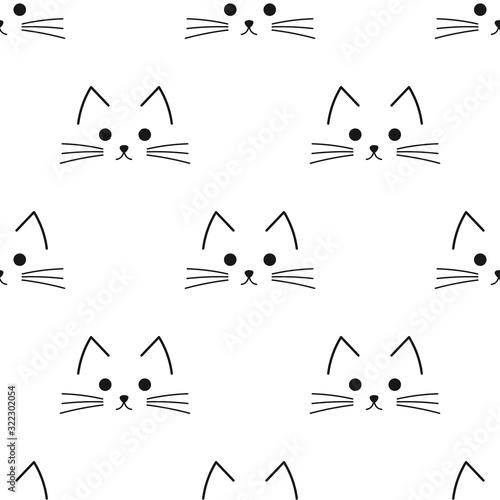 Cuadros en Lienzo Cat face drawing seamless pattern.