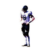 American Football Player Standing With Hands On Hips, Isolated Low Polygonal Vector Illustration
