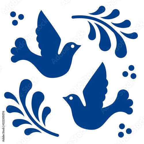 Fotografija Mexican talavera tile pattern with birds
