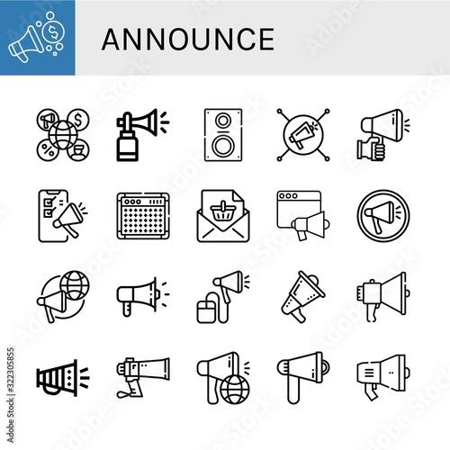 announce simple icons set Canvas Print
