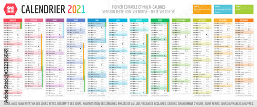 Calendrier 2021 - Fichier éditable et multi-calques Canvas Print