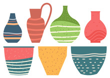 Set Of Striped Vase Isolated O...