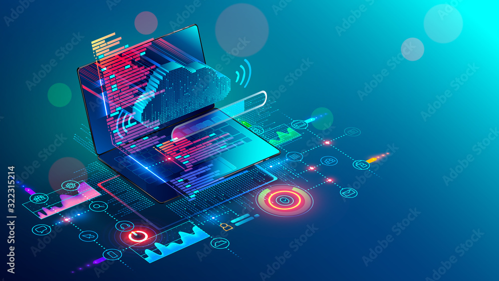 Fototapeta Laptop with code on screen hanging over icons programming app, software development, web coding. Isometric conceptual illustration about collaboration work via internet or cloud storage. Remote work.