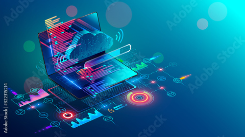 Obraz Laptop with code on screen hanging over icons programming app, software development, web coding. Isometric conceptual illustration about collaboration work via internet or cloud storage. Remote work. - fototapety do salonu