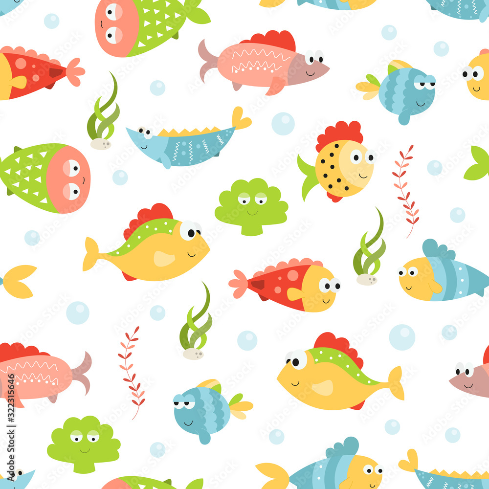 Fototapeta Sea life seamless pattern with cute fishes. Underwater background. Vector Illustration. Great for wallpaper, baby clothes, greeting card, wrapping paper.