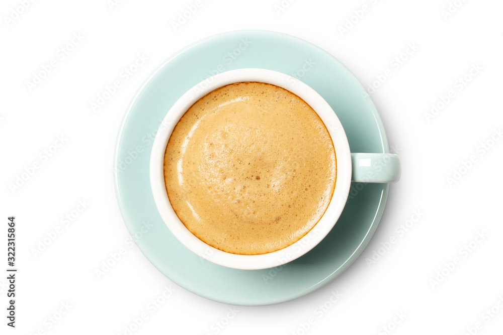 Fototapeta blue coffee cup top view closeup isolated on white background.