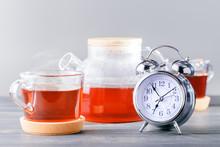 Tea Time Concept. Alarm Clock ...