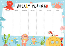 Weekly Planner With Funny Underwater Animals, Submarine, Diver And Fishes In Doodle Cartoon Style. Kids Schedule Design Template. Vector Illustration.