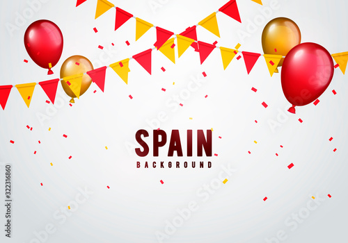 Obraz Vector Illustration spain garland flag with confetti and balloons for spanish celebration template banner. - fototapety do salonu